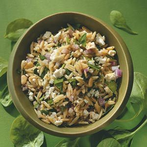 delicious and simple Spinach Orzo Salad recipe - a great side, main dish, or potluck dish! - i use Girard's brand (from HEB) Greek Feta dressing for the dressing..amazing!
