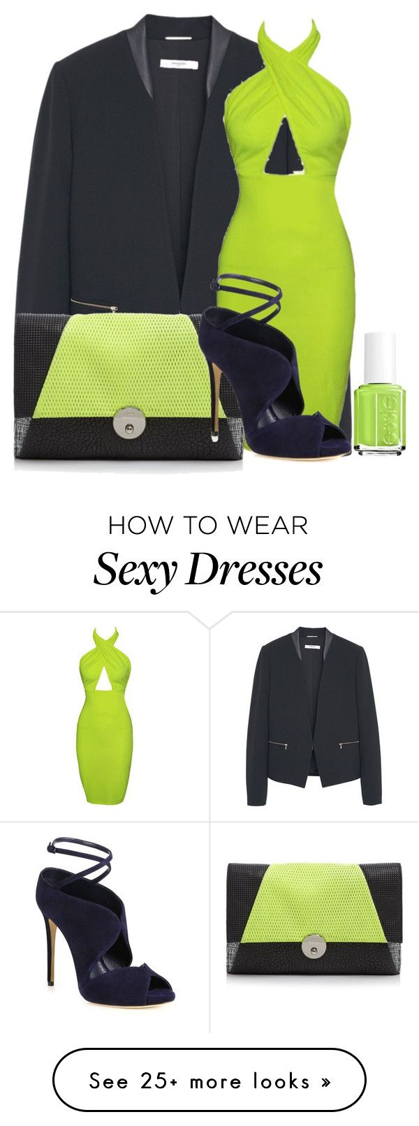 """lime dress"" by missgirlgiuli on Polyvore featuring MANGO, Essie, Milly, Casadei, women's clothing, women's fashion, women, female, woman and misses"
