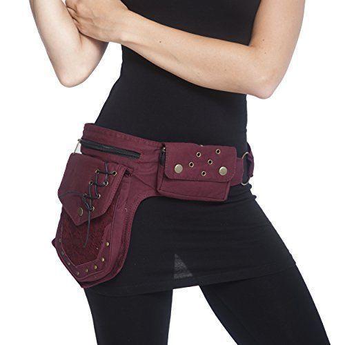 Womens Waist Bag Maroon Cotton Practical Fannypack Travel Utility Belt Fashion  #WomensWaistBagMaroonCotton