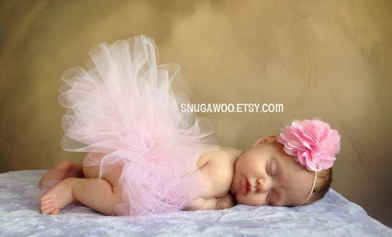 Light Pink Tutu Set, Newborn/Infant Baby Girl Tutu WITH coordinating satin flower headband bow, new baby girl, hospital pictures, baby gift