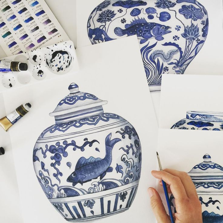 Blue and white ginger jar Blue and white ming jar Blue and white chinoiserie Michelle Grayson Art Michelle Grayson Artist