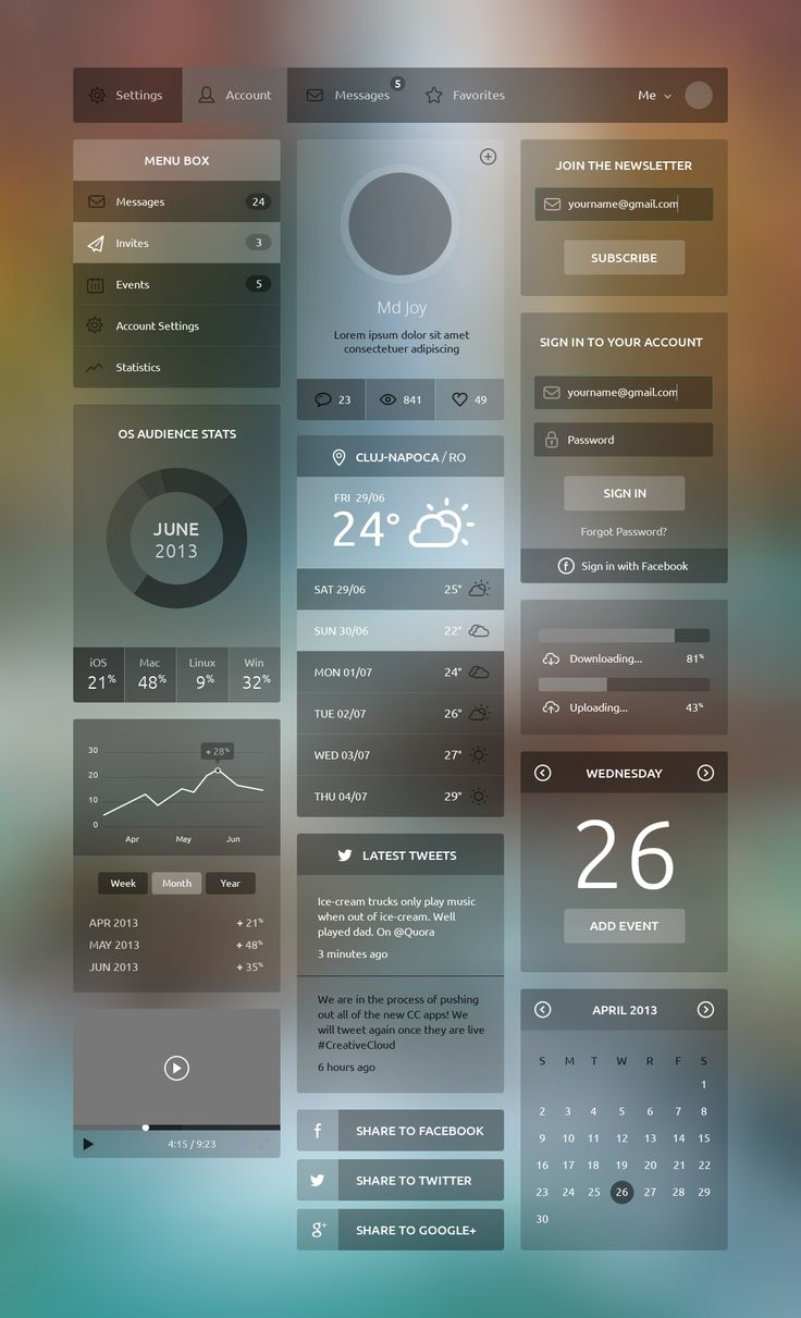 A free flat and transparent UI kit designed by Md Joy and available for free to download in PSD format. Download Here - posted under Freebies tagged with: Buttons, Calendar, Chart, Flat, Form, Free, Graph, Menu, Navigation, Player, Profile, Progress, PSD, Resource, Sign in, Slider, Translucent, UI, Weather, Widget by Fribly Editorial