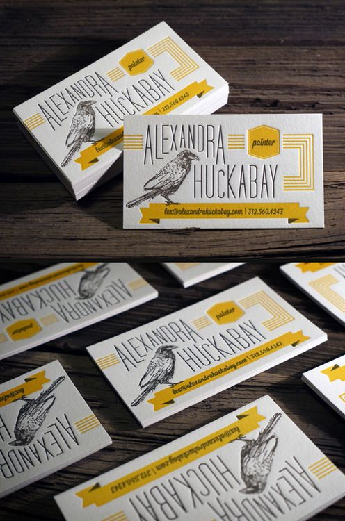 2 color letterpress business cards printed on 118lb cotton paper | Print & Grain | raven illustration by: Alexandra Huckabay