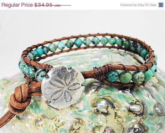CIJ Sale Turquoise blue leather wrap bracelet - Sand dollar beach jewelry - beach sea green boho bracelet sea shore - turquoise and brown s