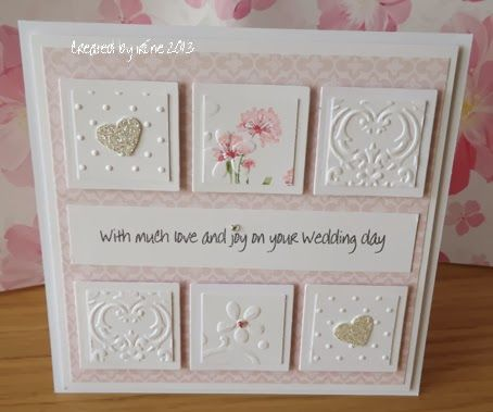 handmade wedding card ... mounted inchies ... luv how the inchies have been carefully punched from embossing folder textures ... beautiful card! ... Stampin' Up!