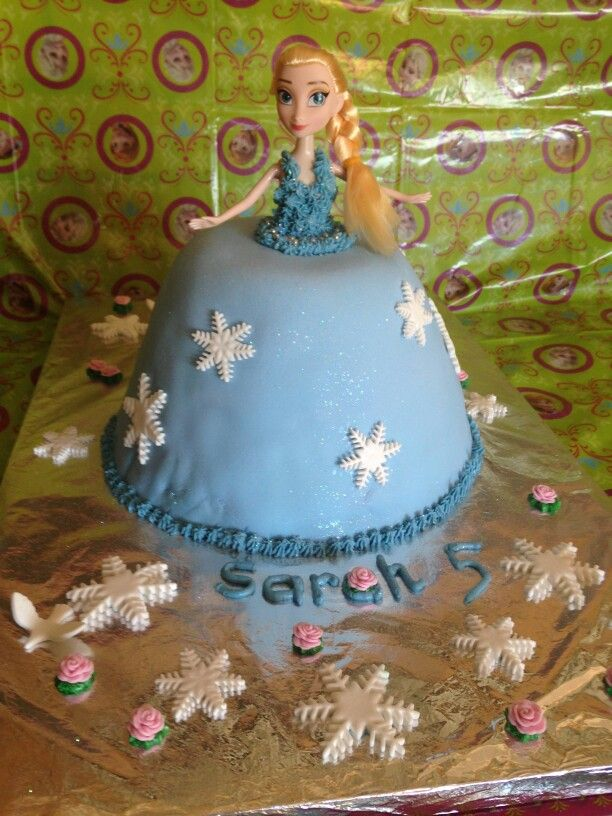 Frozen cake of Elsa. Our first fondant cake. The snowflakes were bought, but the rest is our work. Quite chuffed!