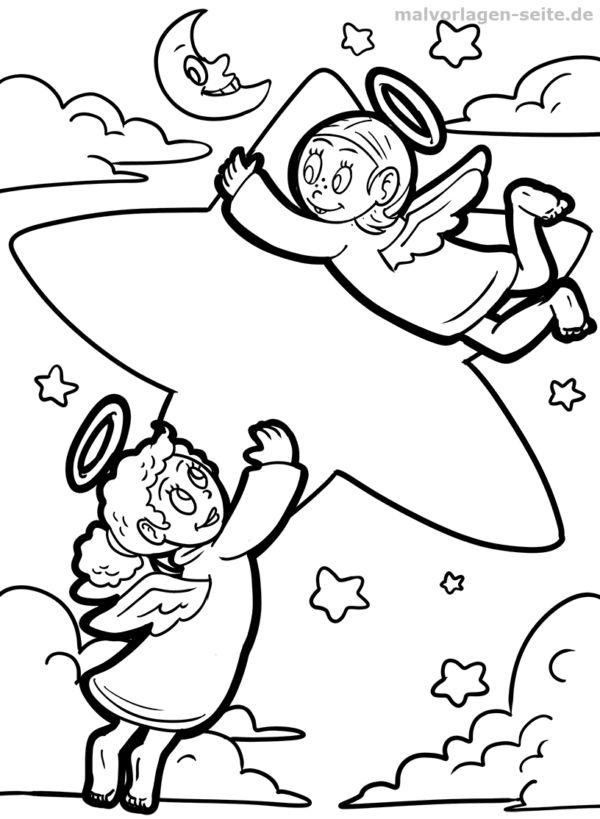 malvorlage engel mit stern  fabelwesen  kostenlose