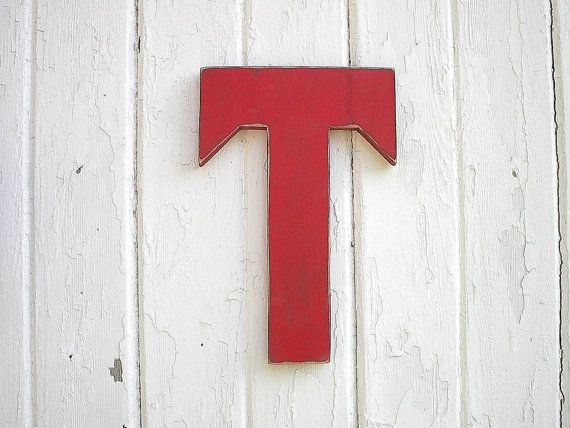 Wooden Letter T Red Shabby Chic Rustic Cottage by LettersofWood, $25.00