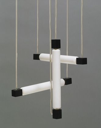 "Hanging Lamp  Gerrit Rietveld (Dutch, 1888-1964)    1920. Wood, glass, and tubular bulbs, 41 x 15 3/4 x 15 3/4"" (104.1 x 40 x 40 cm). Manufactured by G. A. Van de Groenekan, Amsterdam, The Netherlands. Emilio Ambasz Fund. © 2012 Artists Rights Society (ARS), New York / Beeldrecht, Amsterdam    377.1982"