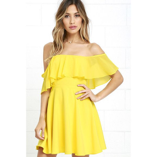 Flutter On By Yellow Off-the-Shoulder Skater Dress ($64) ❤ liked on Polyvore featuring dresses, yellow, flared mini skirt, flared skirt, off shoulder dress, circle skirt and yellow skater dress