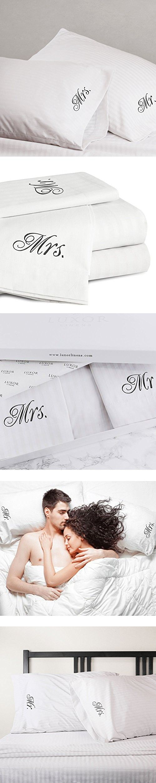 Luxor Linens - 4-Piece Queen Size Sheet Set - Luxury 500 Thread Count Bellagio Collection Cotton Sheet Set - White - Bride & Groom with Signature Gift Packaging - Perfect Wedding Gift!
