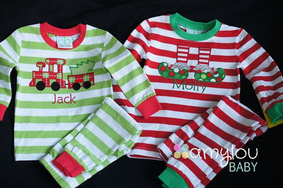 Baby, Toddler, and Kids Red or Lime Green Monogrammed Christmas Pajamas - Jammies - PJs - Personalized