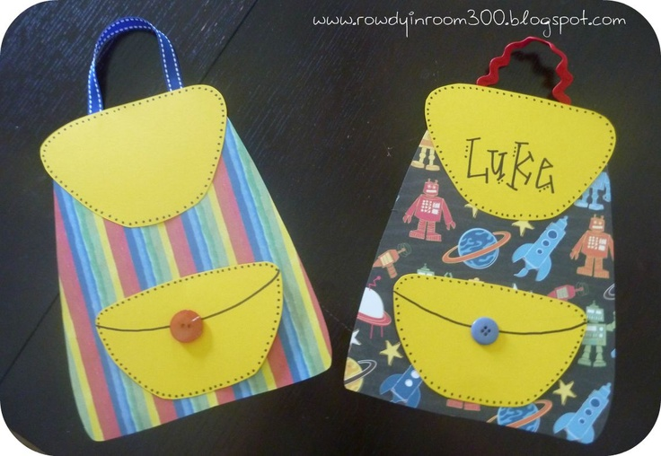 "Backpack Craft - Great way to review classroom rules... or just a cute craft. Use with ""Lola at the Library"" for ""library backpack"" craft?"
