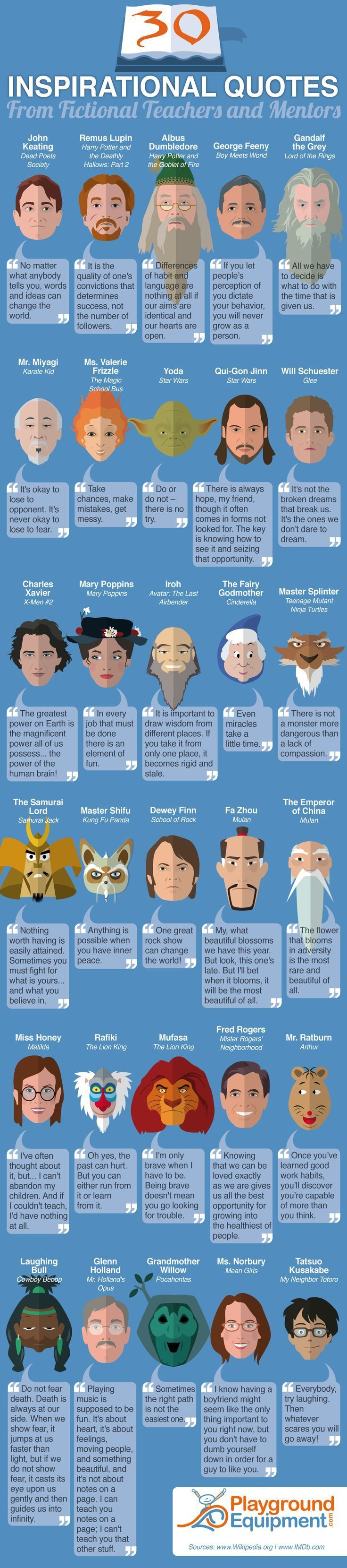 30 Inspirational Quotes from Fictional Teachers and Mentors #Infographic