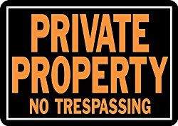 Private Property No Trespassing Sign, Aluminum 9.25″H x 14″W (848)