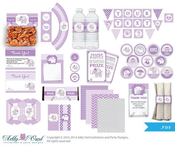 Purple Lilac Elephant Baby Girl Shower Printable Party Kit with girl baby…