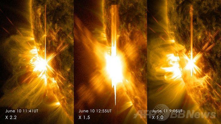 米航空宇宙局(NASA)が公開した、10~11日に発生した3回のXクラスの太陽フレア画像。左から世界時 (UT)10日午前11時41分撮影の「X2.2」、同10日午後0時55分撮影の「X1.5」、同11日午前5時6分撮影の「X1.0」(2014年6月11日提供)。(c)AFP/NASA/SDO/HANDOUT ▼12Jun2014AFP|Xクラスの太陽フレア、2日間で3回 NASAが画像公開 http://www.afpbb.com/articles/-/3017439 #Solar_flare #Erupcion_solar #Eruption_solaire #Sonneneruption