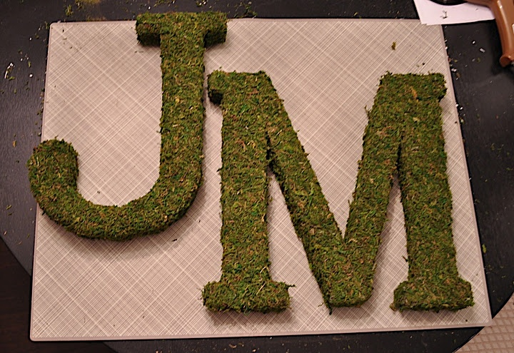 Moss covered letters for my wedding.  Easy tutorial on my blog!