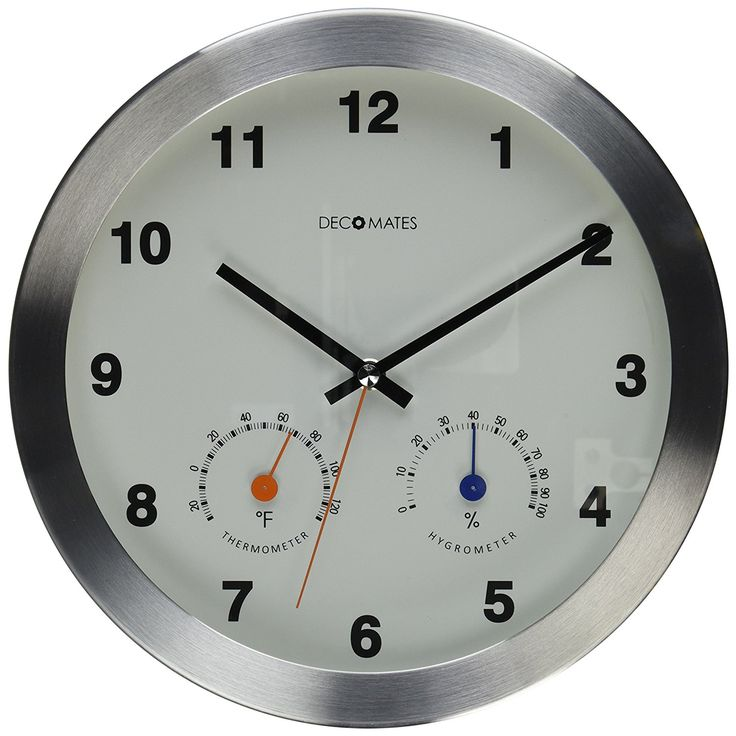 DecoMates Non-Ticking Silent Wall Clock with Built-In Thermometer Fahrenheit/Hygrometer, Modern Multiplex, White ** More forbidden discounts at the link of image : Home Decor Clocks