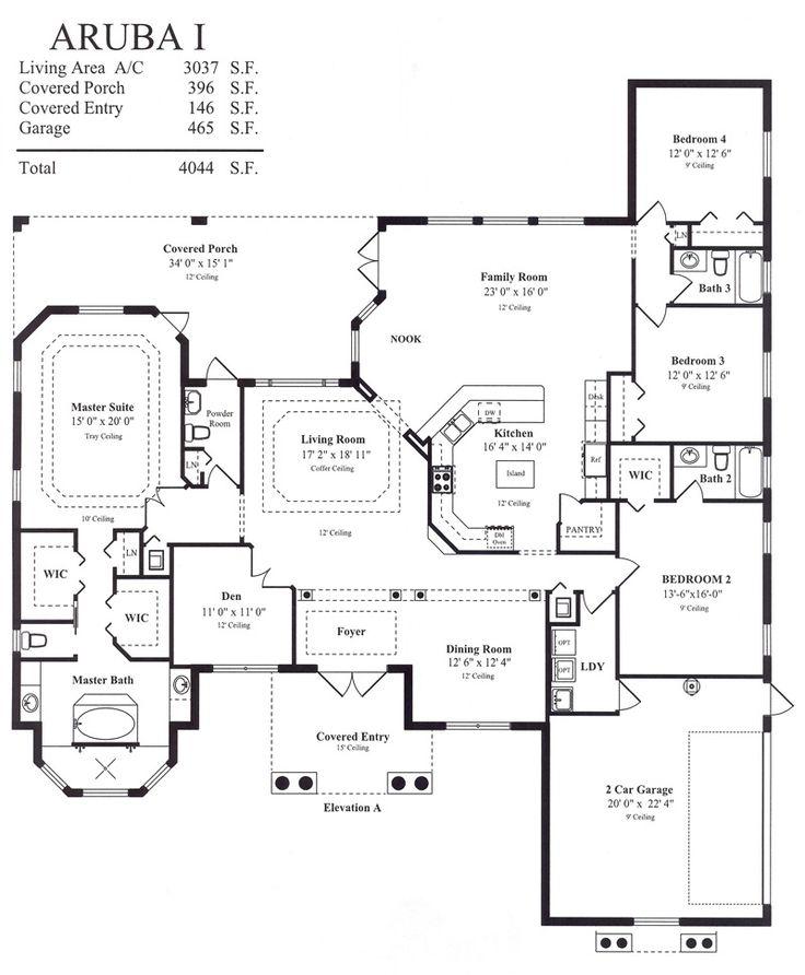 Kitchen Floor Plans And Elevations: Aruba I Model Floor Plan Elevation A