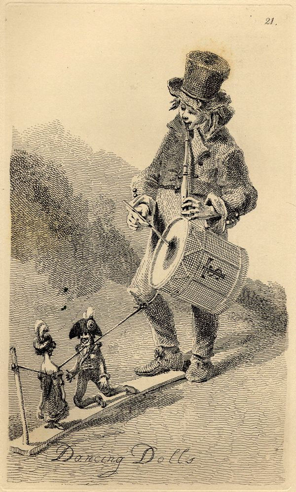 """""""A native of Lucca accompanying his dancing dolls upon the bagpipes.""""  Illustration by John Thomas Smith for """"Vagabondiana"""", published 1817."""