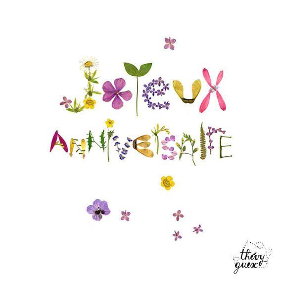 Carte Joyeux Anniversaire Fleur Herbier Typographie Fleur Carte