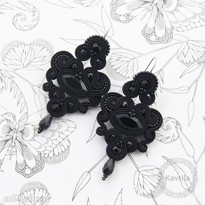 Kolczyki soutache celine black kavrila stylowe wieczorowe sutasz