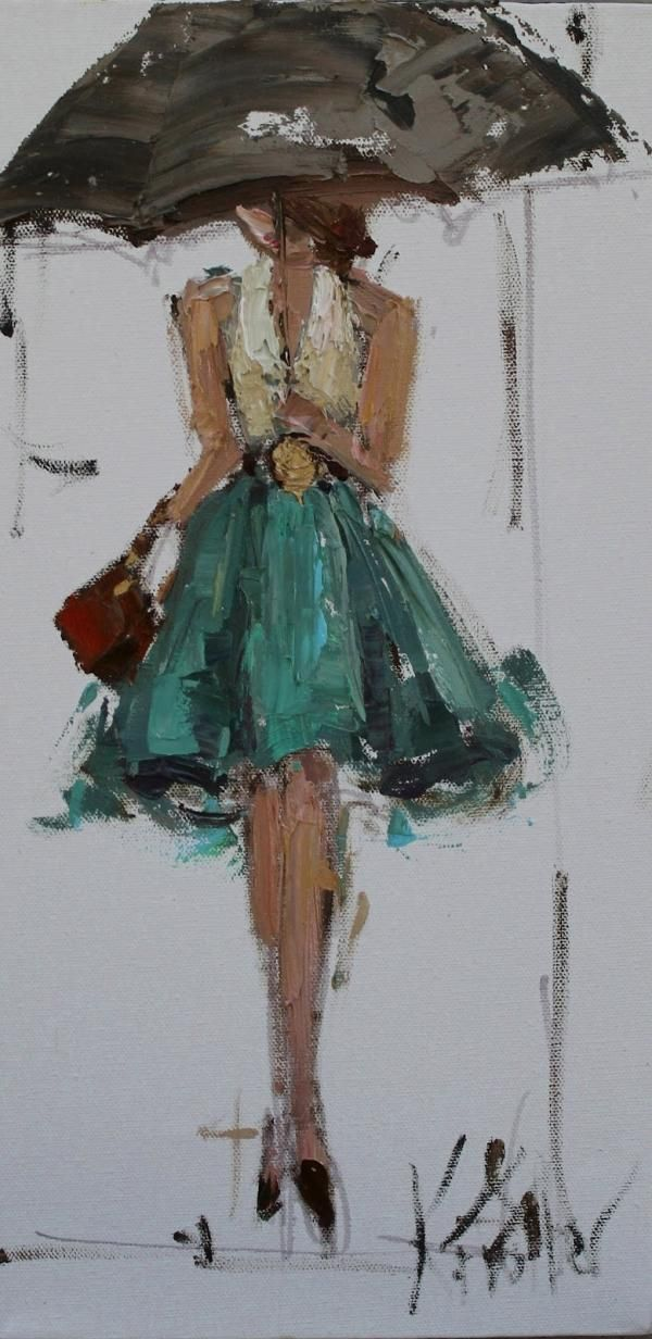 Girl in the rain. Gorgeous art
