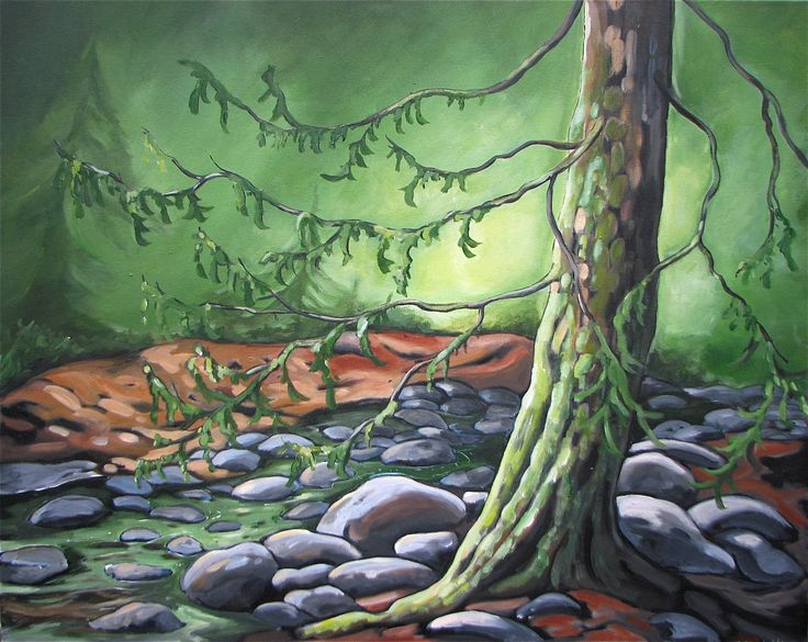 Along the Stream - West Coast Acrylic Painting - Vancouver Island