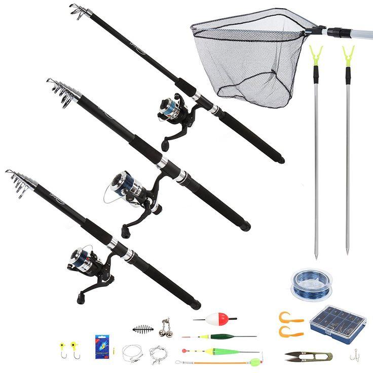 Physionics Set kit attrezzatura da pesca con 3 canne e tantissimi accessori: Amazon.it: Sport e tempo libero