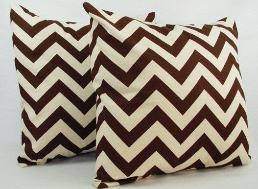 2 Chevron Brown Throw Pillow Covers - 20 x 20 inches - Brown and Beige Couch Pillow Throw Pillow Cushion Cover - Brown Pillow Cover on Etsy, $32.00