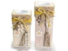 "Portacandela grande tealight in legno ""Spring"" idea regalo"