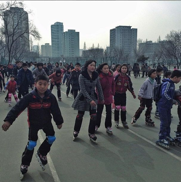 Kids rollerblading. | 41 uncensored instagrams from North Korea by David Guttenfelder