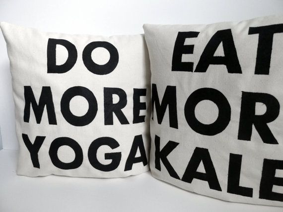 Yoga and Kale Pillows by KatieScarlettCo #Pillows #Yoga #Kale