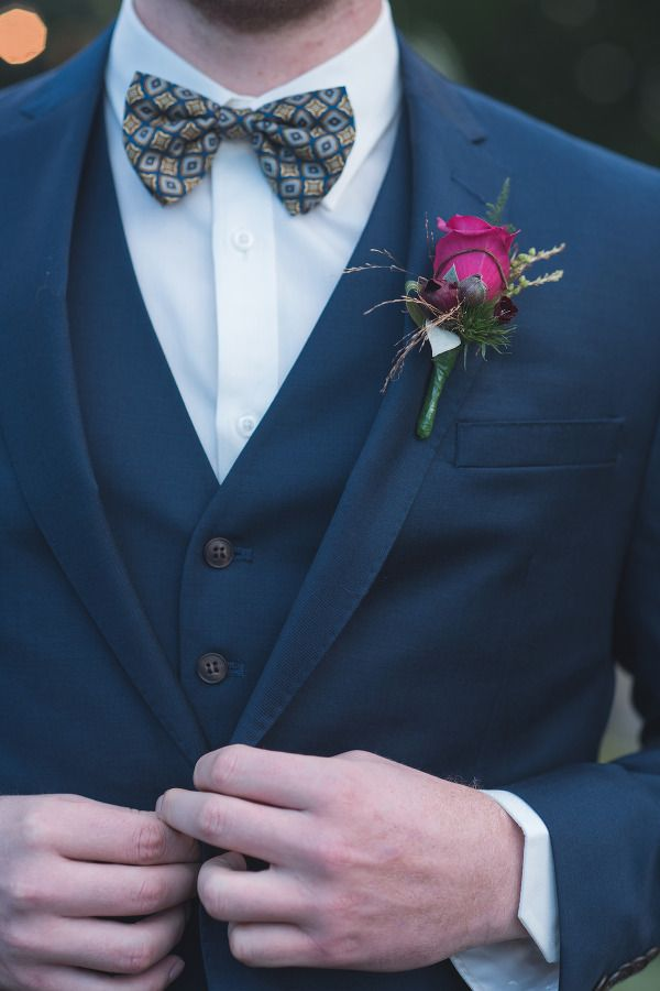 navy suit Weddings pink button hole bow tie groom