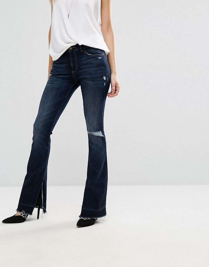 DL1961 Bridget Bootcut Jean with Raw Frayed Hem - Blue