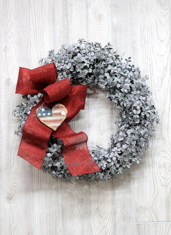 patriotic wreaths for front door59 best Artificial Boxwood Wreaths images on Pinterest  Front