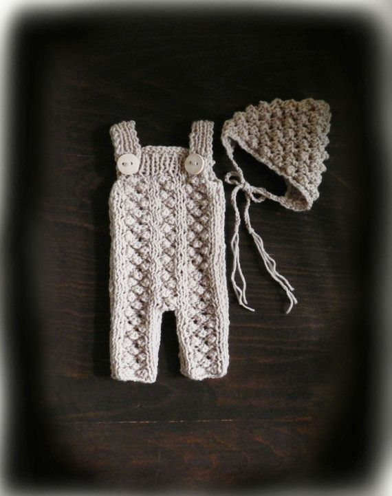Cream Hand Knit Baby Romper and Bonnet/ Newborn by GabriCollection