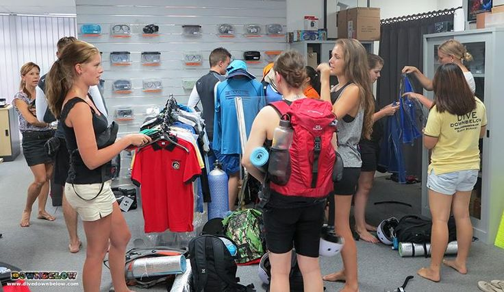 Shopping for rashguards at our Kota Kinabalu Dive Shop after their presentation for their Salt Trails jungle trek the next day!