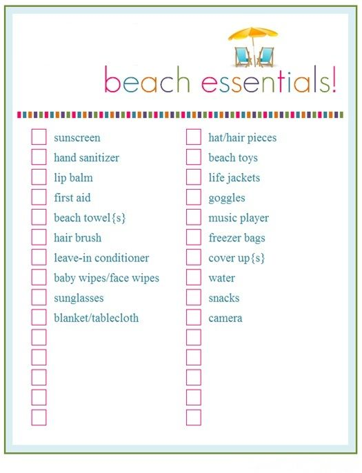 What To Take On The Beach  Beach Essentials Free Printable