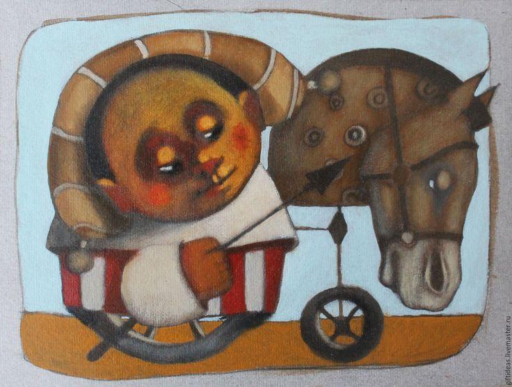 Купить За мечтой - рыжий, картина, картина люди, картина лошади, детский декор