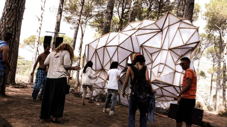 psychedelic festival in Lebanon stage design  mapping,stretch art,structure,painting,UV light,music