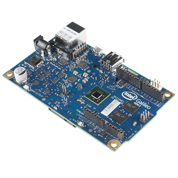 Intel® Galileo Gen 2 = Description: The Intel® Galileo Gen 2 board is based on the Intel® Quark SoC X1000, a 32-bit Intel Pentium®-class system on a chip (SoC). It is the first board based on Intel® architecture designed to be hardware and software pin-compatible with shields designed for the Arduino Uno R3. ~$75