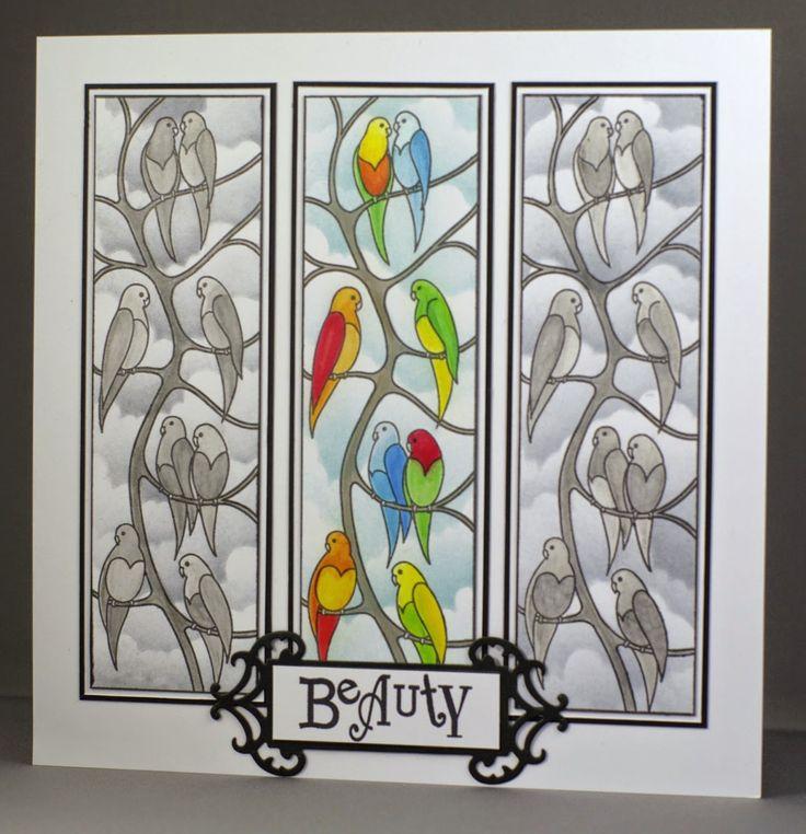 Beautiful Parakeets. Claritystamp Parakeets card.