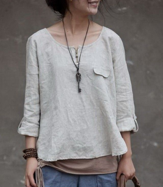 Round Collar Short Linen Tunic by Main Website for $39.00 in Blouses - Tops