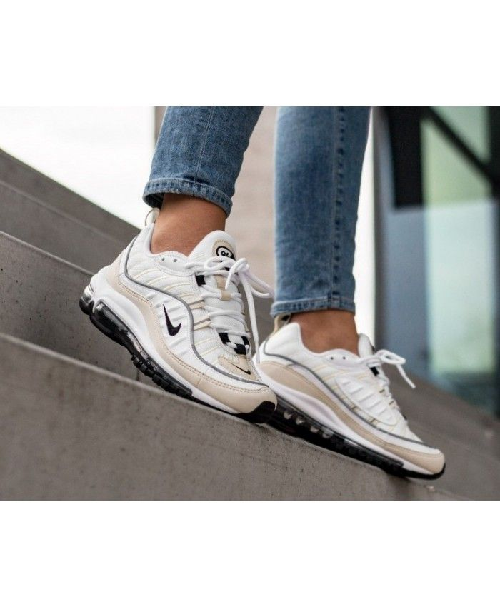 Nike Air Max 98 Trainers In White Black Fossile | Nike air ...