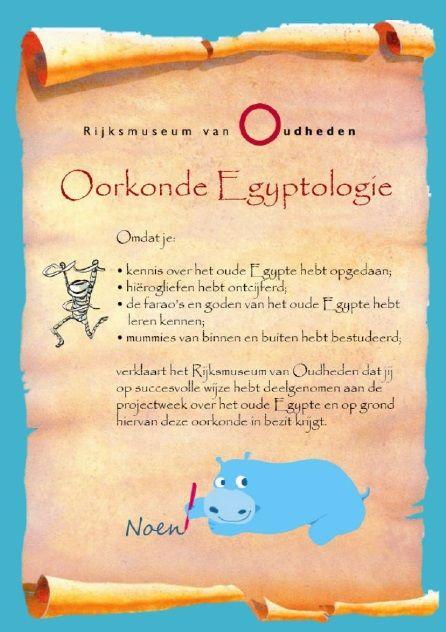 De oorkonde Egyptologie is onderdeel van het Rijksmuseum van Oudheden Egyptepakket. Laat leerlingen uit groep 1-8 gratis kennismaken met, mummies, goden en hiërogliefen. Klik op de afbeelding om het hele pakket te bekijken!