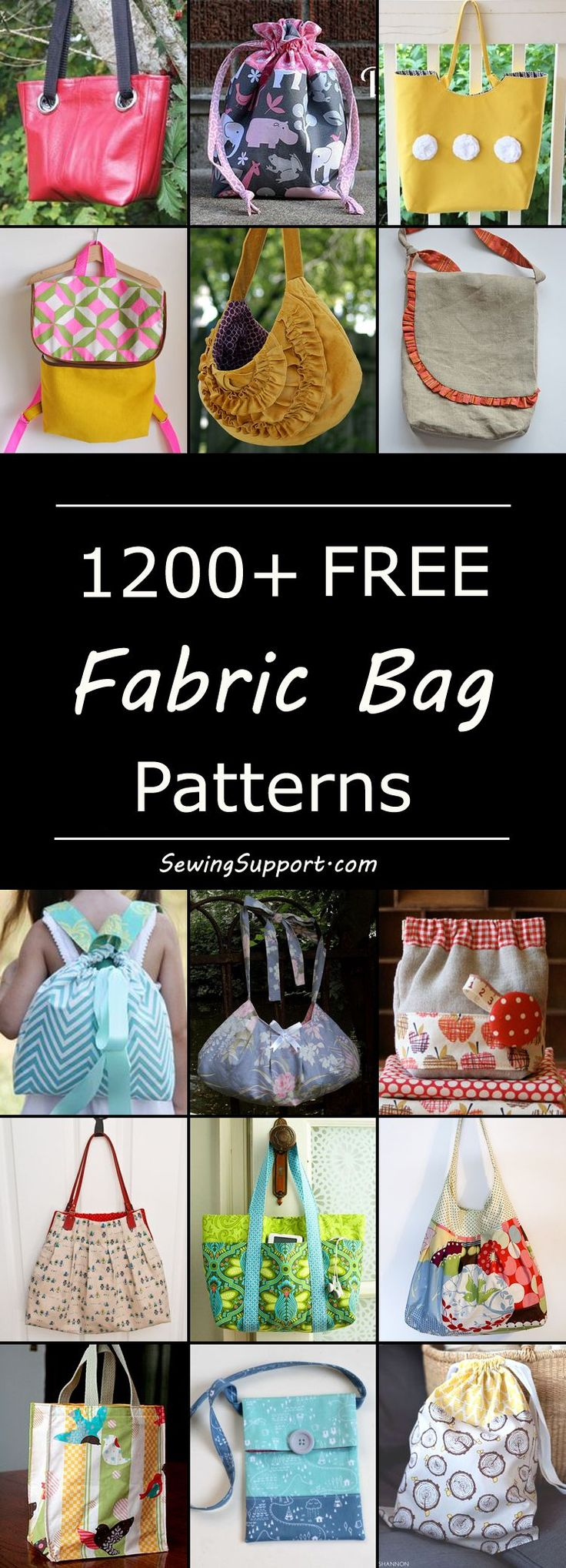 Lots of free bag sewing patterns, diy projects, and tutorials. Sew messenger bags, tote & book bags, hobo, slouch, & sling bags, drawstring, diaper, duffle, lunch, shopping, beach, and travel bags, backpacks, purses & clutch bags, large & small bags. Many simple & easy designs. #diybag