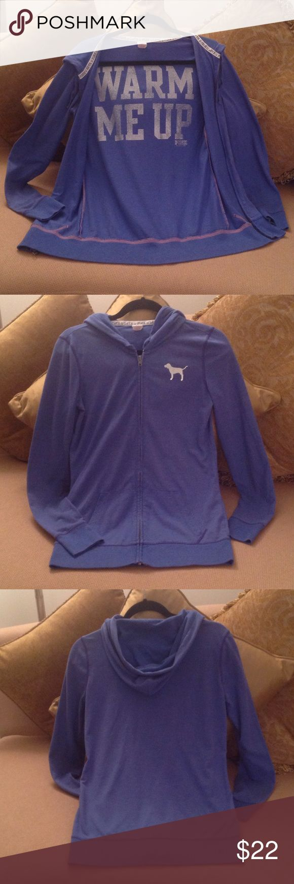 💖 'PINK' -Victoria's Secret Blue / Silver Hoodie Size Small. 'Warm Me Up' is printed in silver on the INSIDE of the jacket. Now that's different!!  The Silver 'Pink Dog' is on the front. This is in excellent condition. PINK Victoria's Secret Tops Sweatshirts & Hoodies
