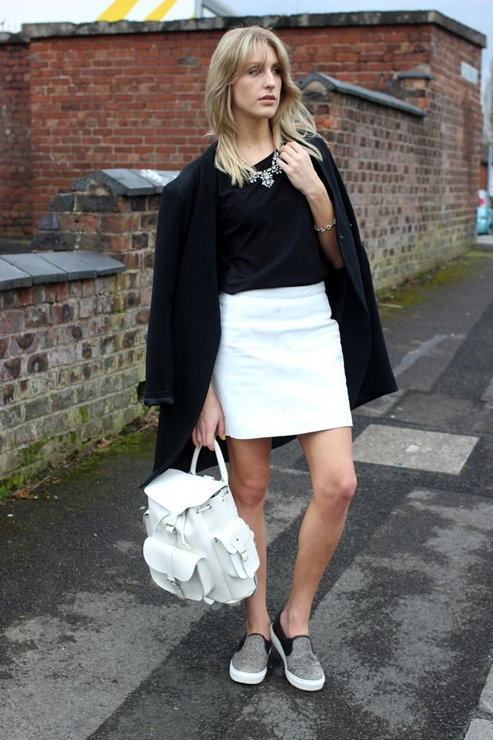 White Leather Skirt and monochrome outfit on Lurch Hound Loves. Backpack by Grafea www.grafea.co.uk